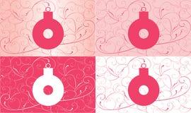 Insieme delle cartoline di Natale con la decorazione Fotografie Stock