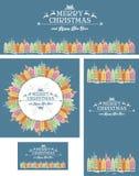 Insieme delle cartoline di Natale con la vecchia città Fotografia Stock Libera da Diritti