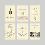 Insieme delle cartoline di Natale decorative illustrazione vettoriale