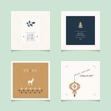 Insieme delle cartoline di Natale decorative illustrazione di stock
