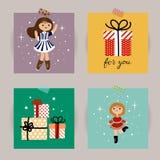 Insieme delle cartoline di Natale Illustrazioni di vettore degli attributi di Natale Illustrazione per i bambini manifesto, carto Immagini Stock Libere da Diritti