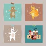 Insieme delle cartoline di Natale Illustrazioni di vettore degli attributi di Natale Illustrazione per i bambini manifesto, carto Fotografie Stock