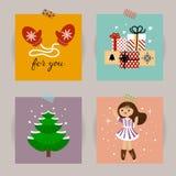 Insieme delle cartoline di Natale Illustrazioni di vettore degli attributi di Natale Illustrazione per i bambini manifesto, carto Fotografia Stock Libera da Diritti