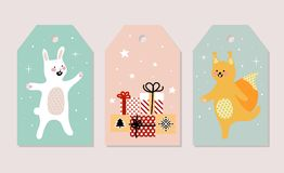 Insieme delle cartoline di Natale Illustrazioni di vettore degli attributi di Natale Illustrazione per i bambini manifesto, carto Immagini Stock