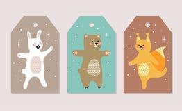 Insieme delle cartoline di Natale Illustrazioni di vettore del Natale Fotografia Stock Libera da Diritti