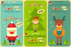 Insieme delle cartoline di Natale sveglie Fotografie Stock