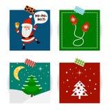 Insieme delle cartoline di Natale Vector le illustrazioni di Santa Claus, dei guanti e dell'albero di Natale Immagini Stock