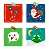 Insieme delle cartoline di Natale Vector le illustrazioni di Santa Claus, dei guanti e dell'albero di Natale Immagine Stock Libera da Diritti