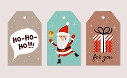 Insieme delle cartoline di Natale Vector le illustrazioni di Santa Claus, testo noioso-noioso-noioso in fumetto e regalo di Natal Fotografia Stock Libera da Diritti