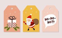Insieme delle cartoline di Natale Vector le illustrazioni di Santa Claus, testo noioso-noioso-noioso in fumetto e regalo di Natal Immagini Stock