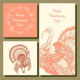 Insieme delle cartoline disegnate a mano per il giorno di ringraziamento La Turchia, foglie Fotografie Stock