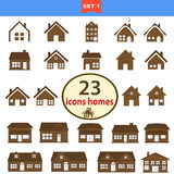 Insieme delle case classiche nel colore marrone Fotografie Stock Libere da Diritti