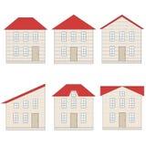 Insieme delle case con mattoni a vista con differenti tetti di mattonelle rosse Fotografie Stock