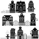 Insieme delle case del disegno di fiaba dei fumetti Fotografie Stock