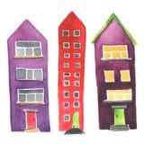 Insieme delle case differenti dell'acquerello Immagine Stock Libera da Diritti