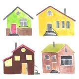 Insieme delle case differenti dell'acquerello Immagini Stock