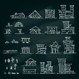Insieme delle case disegnate a mano Raccolta differente della costruzione Fotografia Stock Libera da Diritti