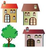 Insieme delle case e dell'albero di vettore Immagini Stock Libere da Diritti