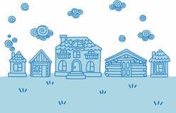 Insieme delle case facile-editabili sveglie disegnate a mano di vettore di scarabocchio Immagini Stock