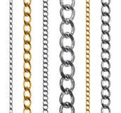Insieme delle catene dell'argento e dell'oro isolate su bianco Fotografie Stock