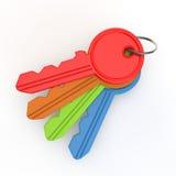 Insieme delle chiavi colorate da sopra Fotografie Stock