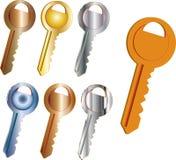 Insieme delle chiavi dai vari metalli illustrazione di stock