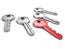 Insieme delle chiavi della porta con un rosso su bianco Immagine Stock Libera da Diritti