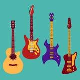 Insieme delle chitarre differenti Immagine Stock