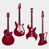 Insieme delle chitarre differenti Chitarra acustica, elettrica Fotografia Stock Libera da Diritti