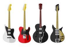 Insieme delle chitarre isolate Immagini Stock