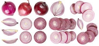 Insieme delle cipolle rosse Verdure utili additivo Isolato su priorità bassa bianca Per il vostro disegno Immagini Stock