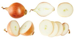 Insieme delle cipolle Verdure utili additivo Isolato su priorità bassa bianca Per il vostro disegno Immagini Stock