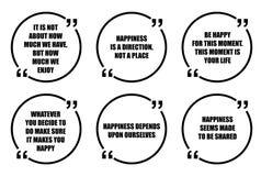 Insieme delle citazioni di ispirazione circa felicità Fotografia Stock