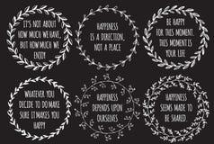 Insieme delle citazioni disegnate a mano di ispirazione circa felicità Fotografie Stock Libere da Diritti