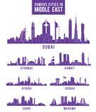 Insieme delle città nelle costruzioni famose di Medio Oriente Fotografie Stock