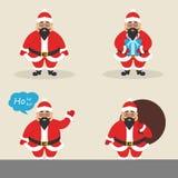 Insieme delle clausole sveglie asiatiche di Santa del carattere nelle pose differenti Santa con la borsa, con il regalo, ondeggia Fotografia Stock Libera da Diritti