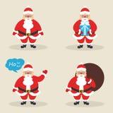 Insieme delle clausole sveglie di Santa nelle pose differenti Santa con la borsa, con il regalo, ondeggiante la sua mano Progetta Fotografia Stock