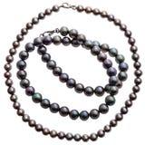 Insieme delle collane dalle perle nere naturali Fotografia Stock