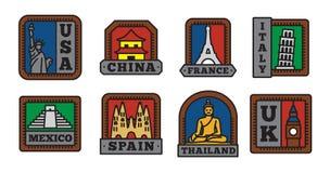 Insieme delle collezioni del distintivo del paese, simbolo di grande paese illustrazione vettoriale