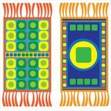Insieme delle coperte multicolori isolate su bianco Immagine Stock