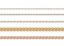 Insieme delle corde Cavi nautici differenti isolati su fondo bianco illustrazione vettoriale
