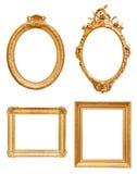 Insieme delle cornici decorative dorate Fotografia Stock