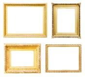 Insieme delle cornici dell'oro Isolato sopra bianco Immagini Stock Libere da Diritti