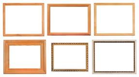 Insieme delle cornici di legno differenti Immagini Stock Libere da Diritti