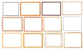 Insieme delle cornici di legno moderne semplici Fotografie Stock Libere da Diritti