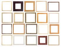 Insieme delle cornici di legno quadrate isolate Fotografie Stock Libere da Diritti