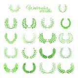Insieme delle corone acquerelle di verde di vettore Fotografie Stock Libere da Diritti