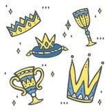 Insieme delle corone e del calice - clipart sveglio di regno di fiaba Fotografia Stock