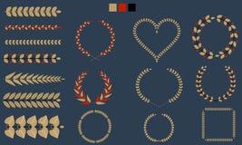 Insieme delle corone, rami, foglia con tricolore piano Illustrazione di vettore Immagine Stock