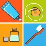 Insieme delle cose del toothcare Fotografie Stock Libere da Diritti